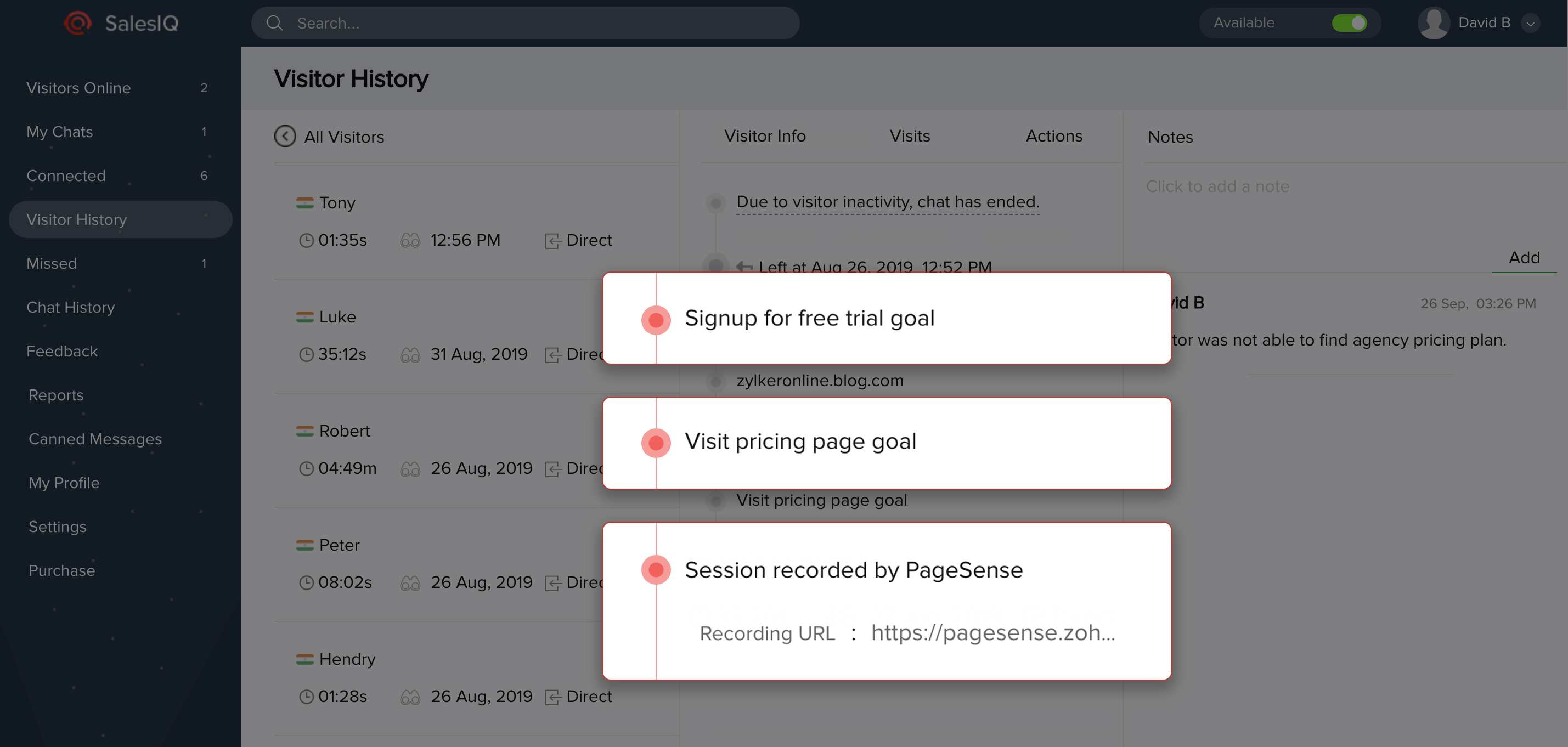 Session Recordings and Goals in PageSense and SalesIQ integration