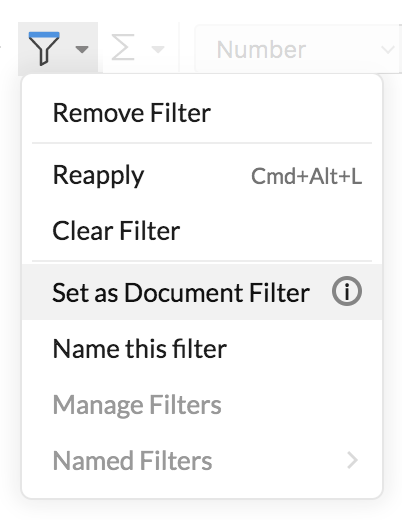 Set as document filter