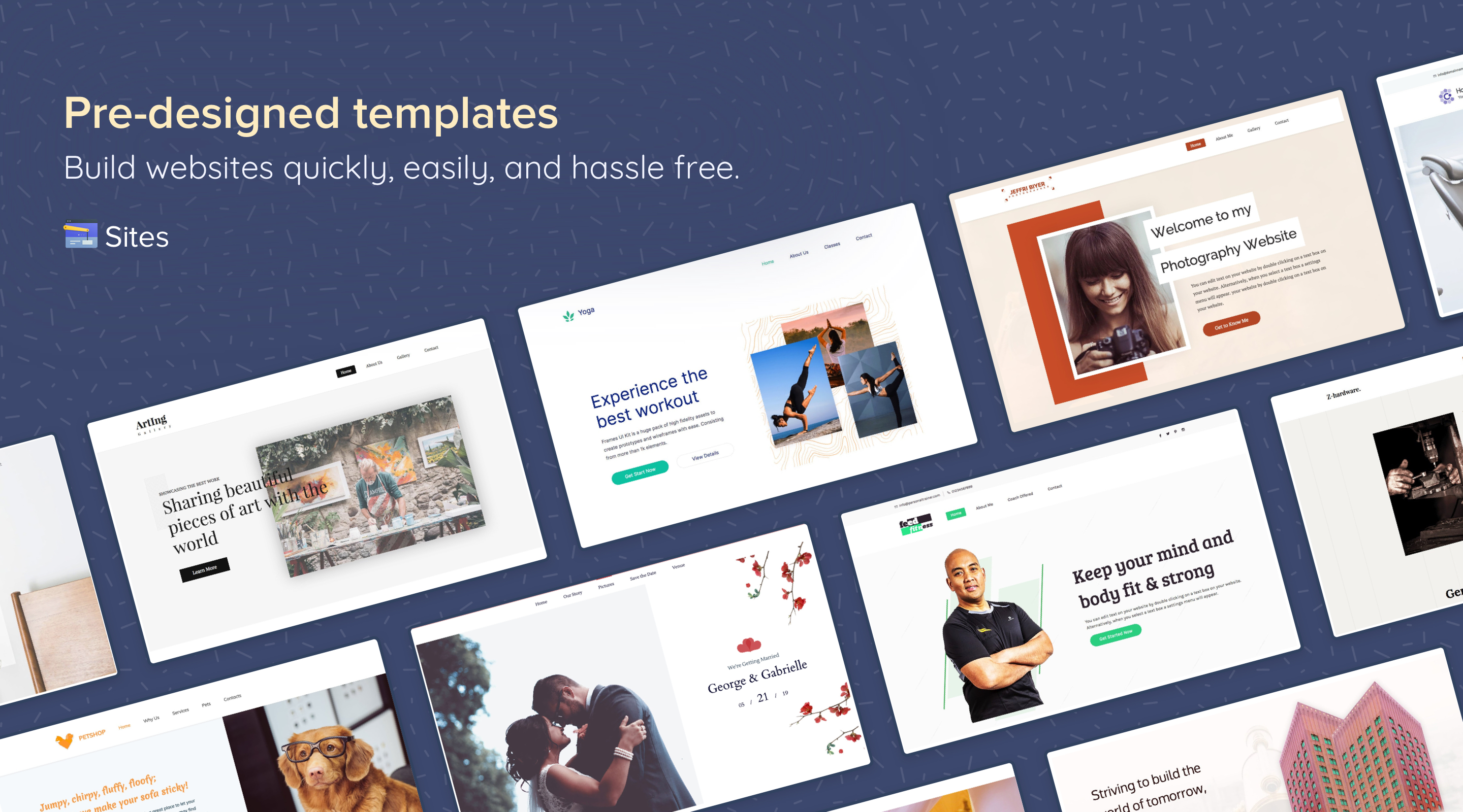 Professionally designed templates, new from Zoho Sites