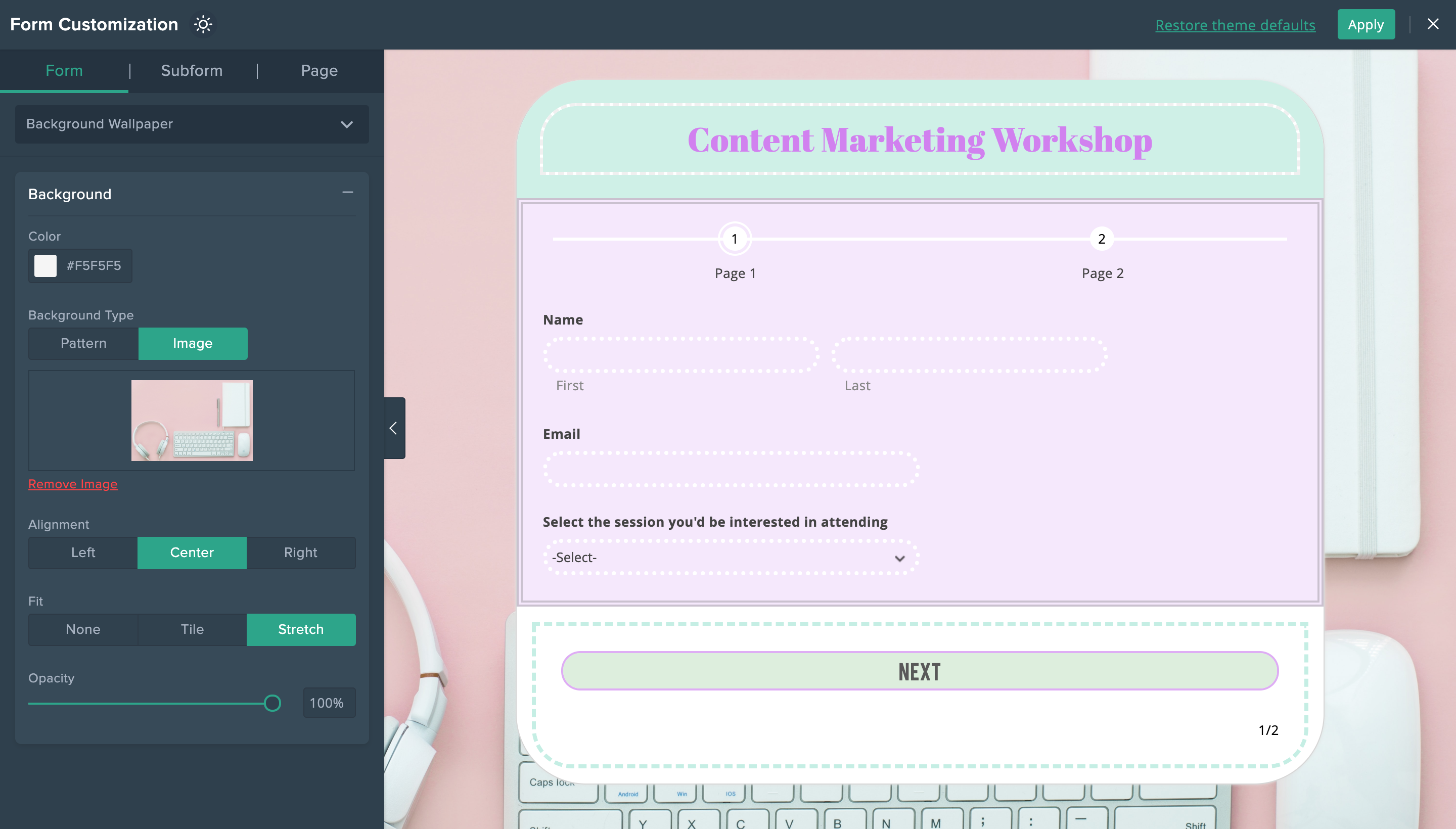 themes builder user interface