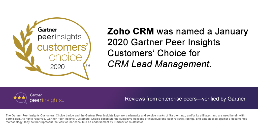 Zoho CRM Named a January 2020 Gartner Peer Insights Customers' Choice for CRM Lead Management