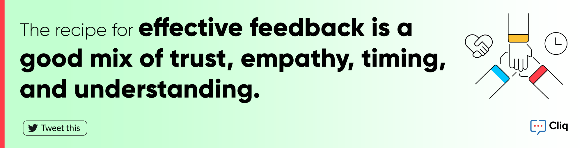 The recipe for effective feedback is a good mix of trust, empathy, timing, and understanding. - Zoho Cliq