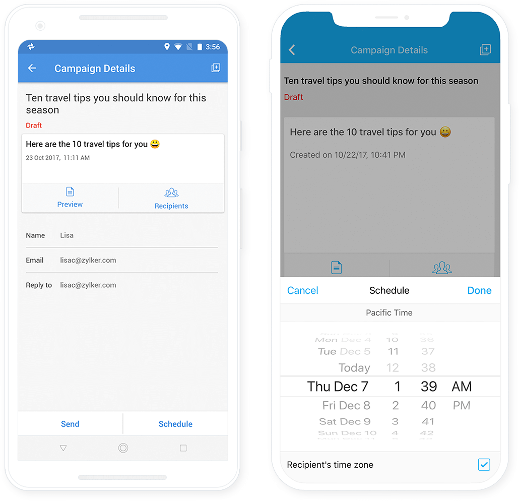 mobile app email marketing zoho campaigns