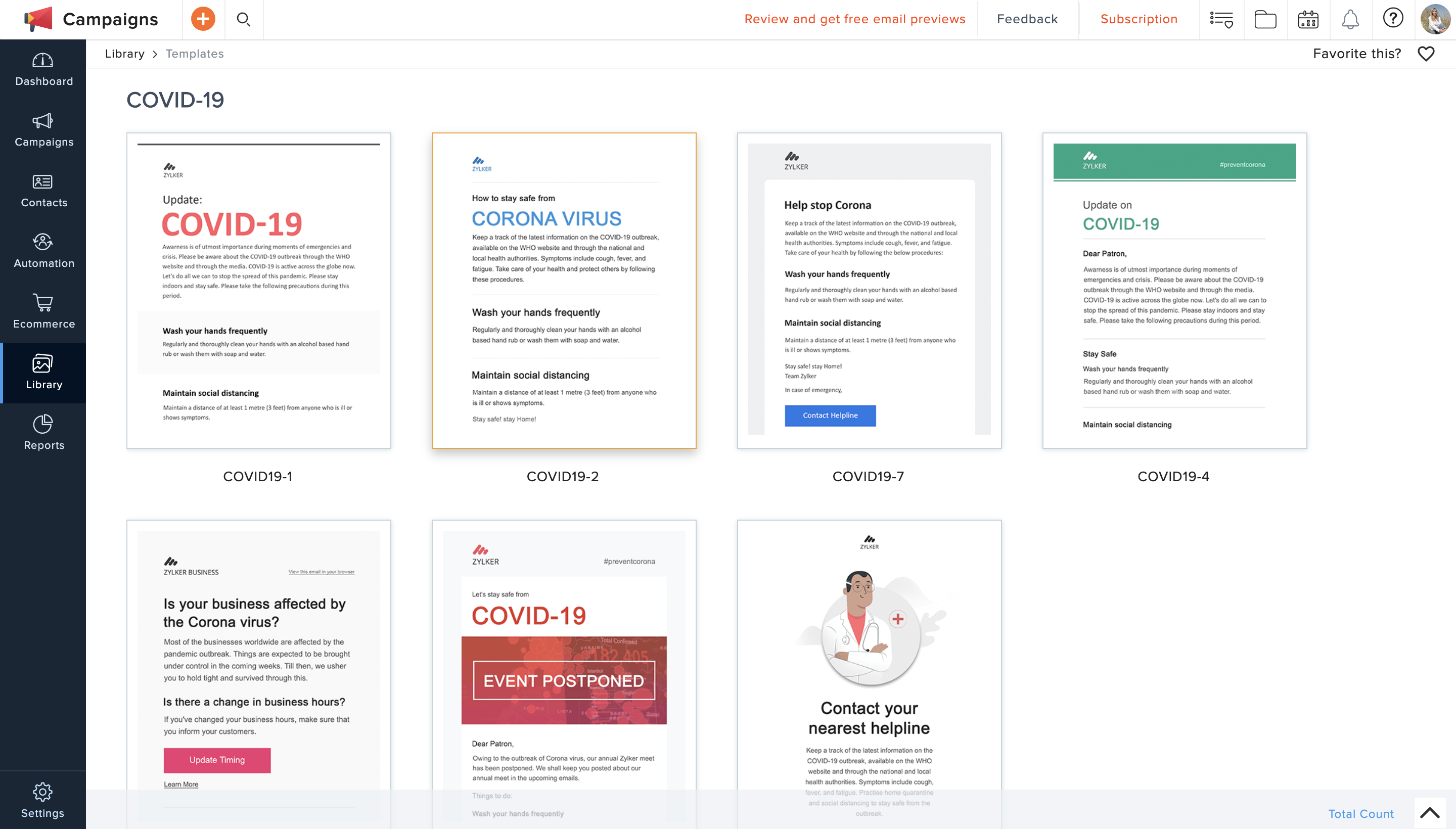 Zoho Campaigns COVID-19 email marketing templates