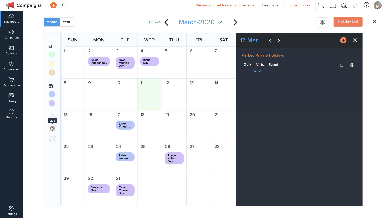 email marketing calendar zoho campaigns
