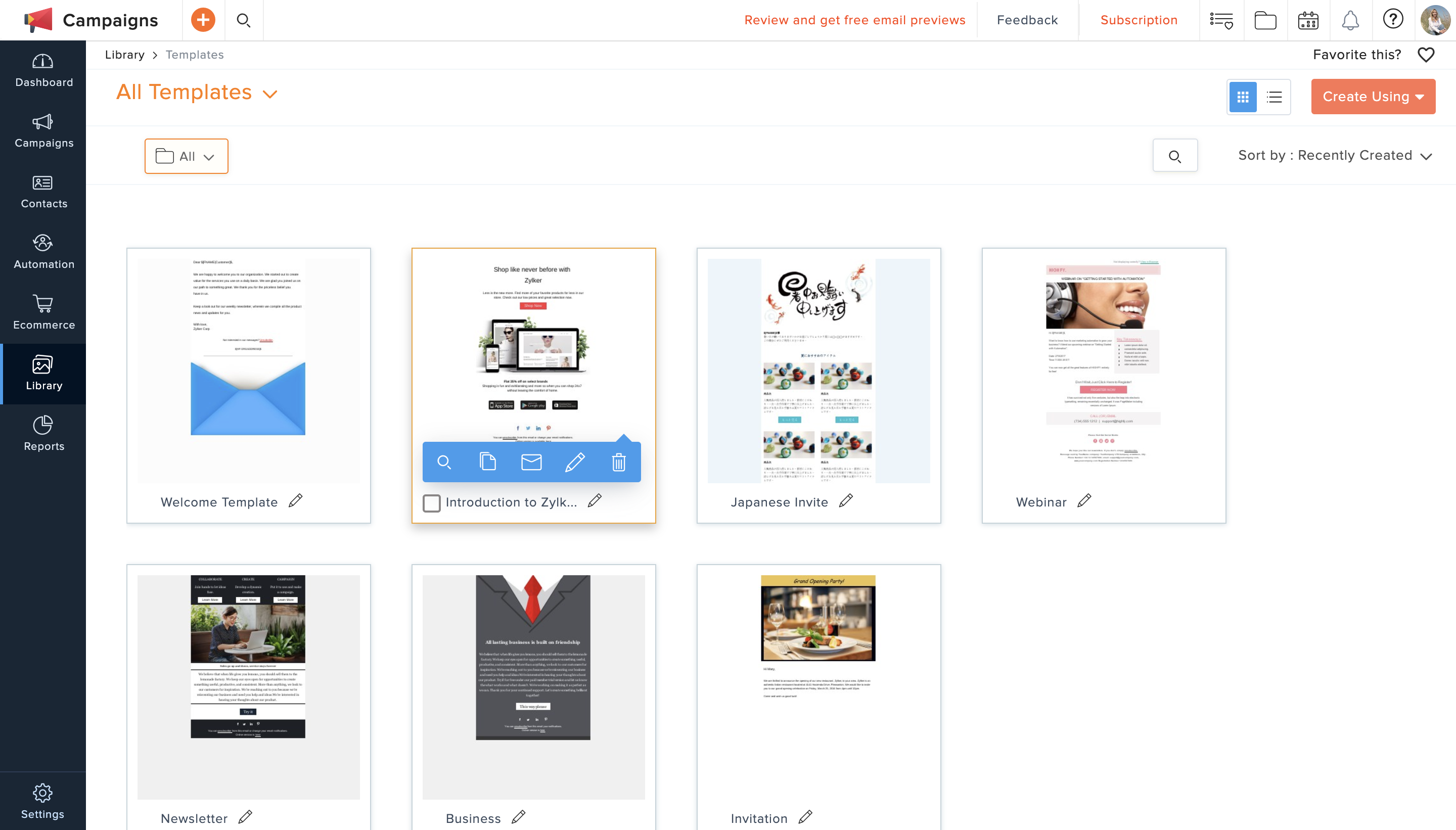 email marketing zoho campaigns templates library