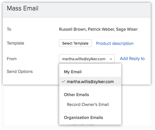 Select email sender and reply-to
