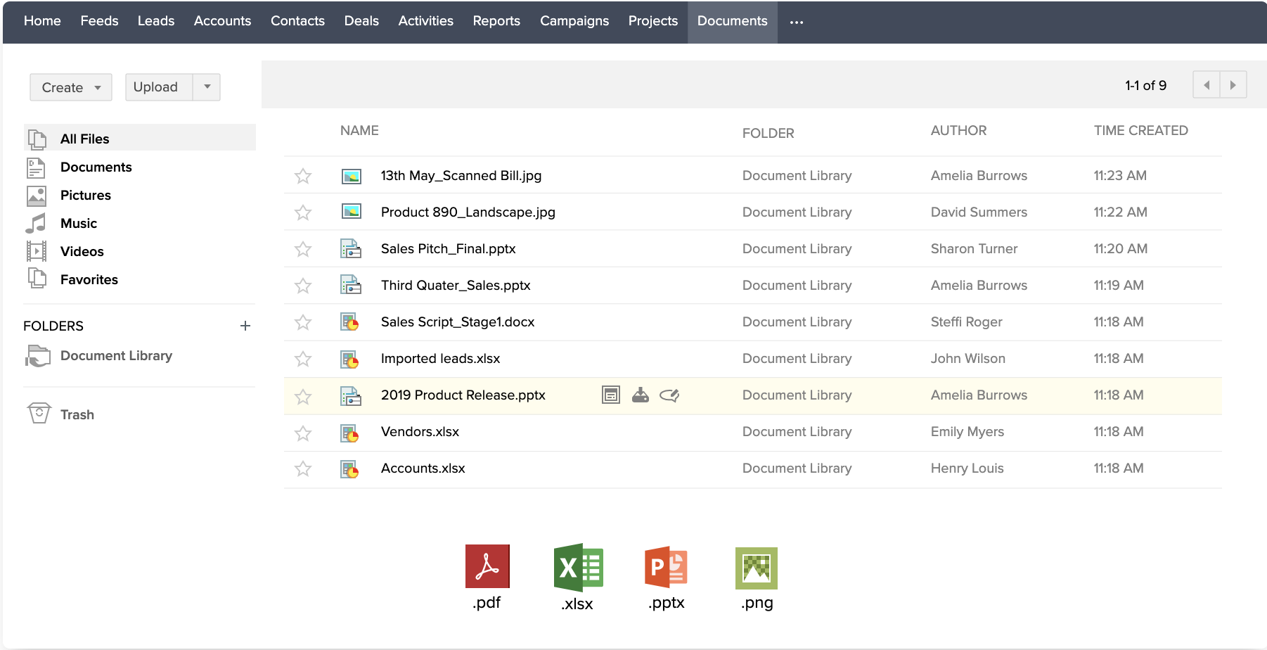 Zoho CRM document library