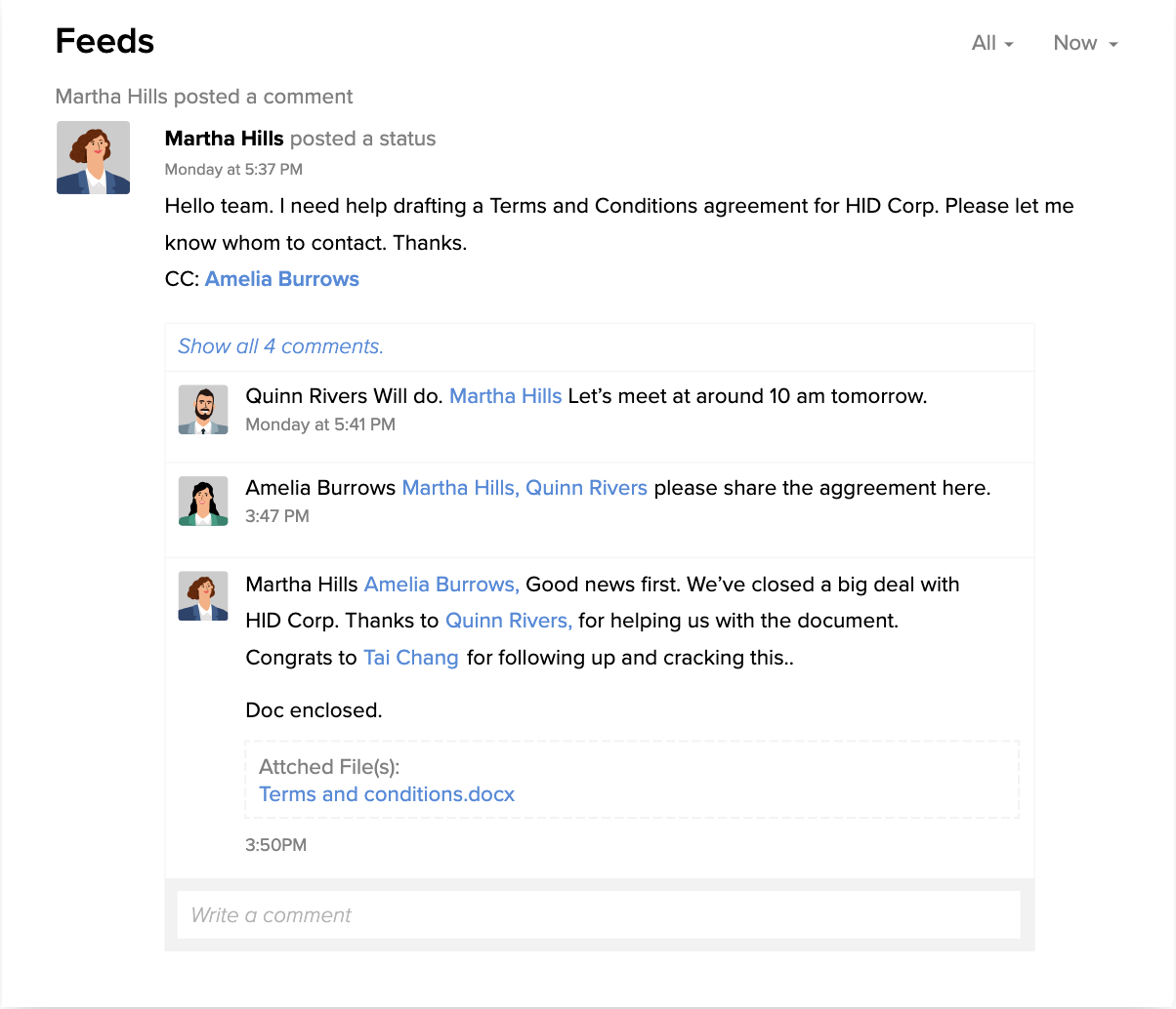 Central feed for collaboration in Zoho CRM