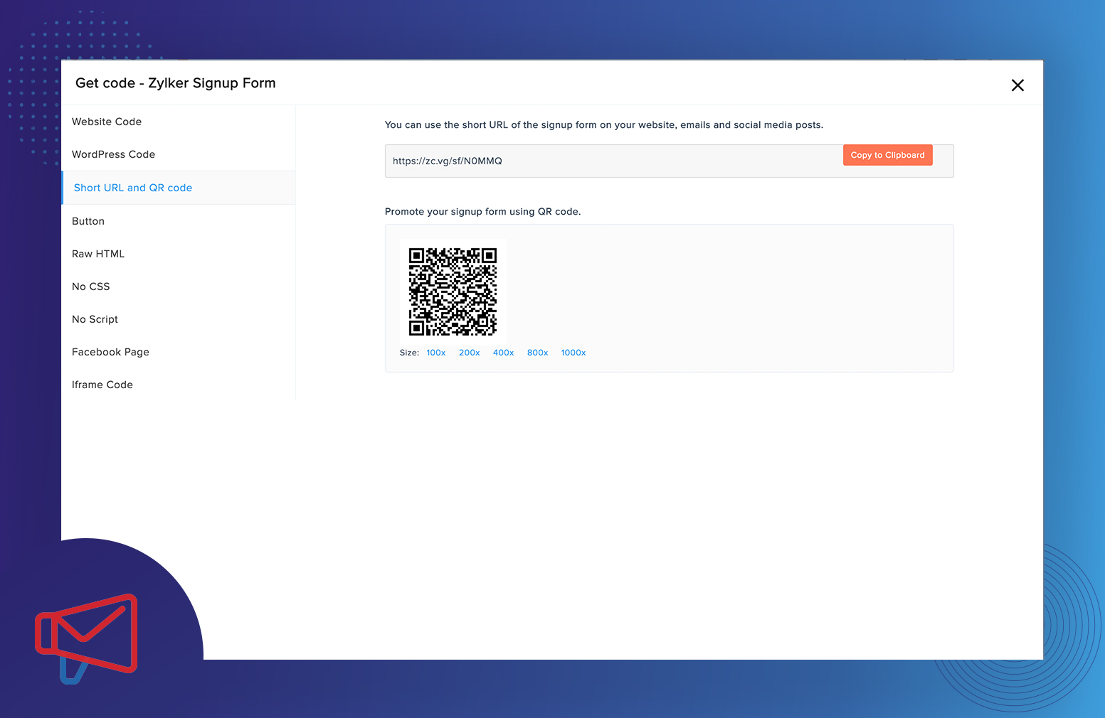 Generating QR Code for a sign-up form