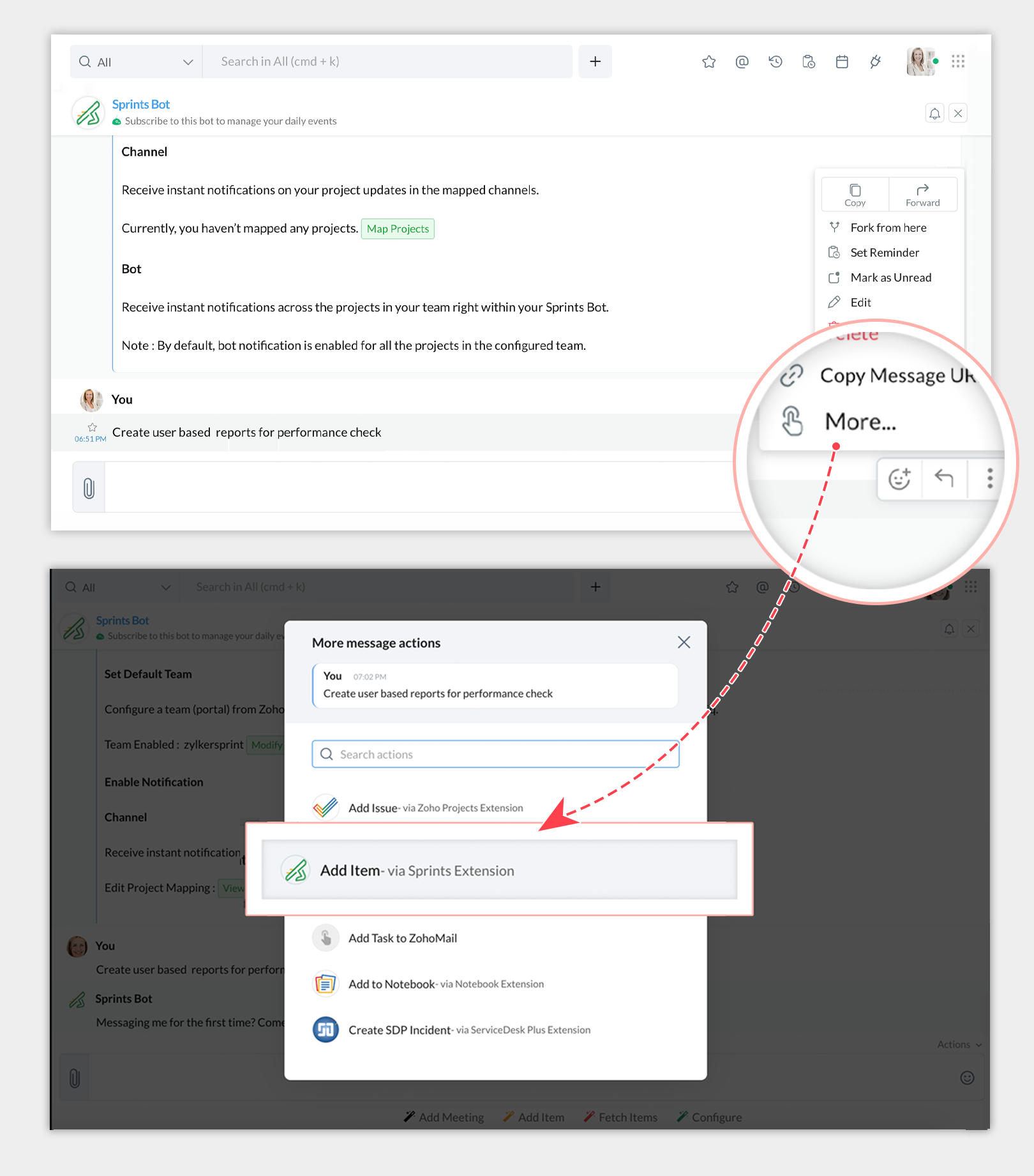 Add Item Message Action in Zoho Sprints