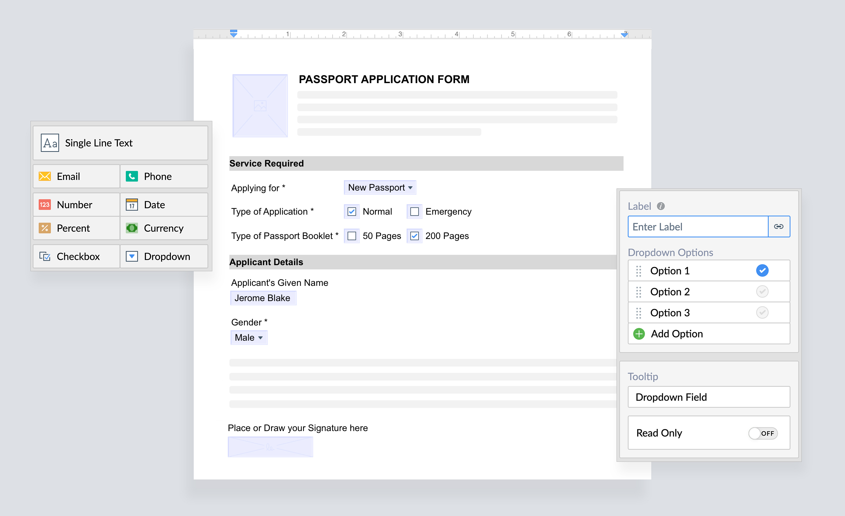 Create fillable documents in Zoho Writer