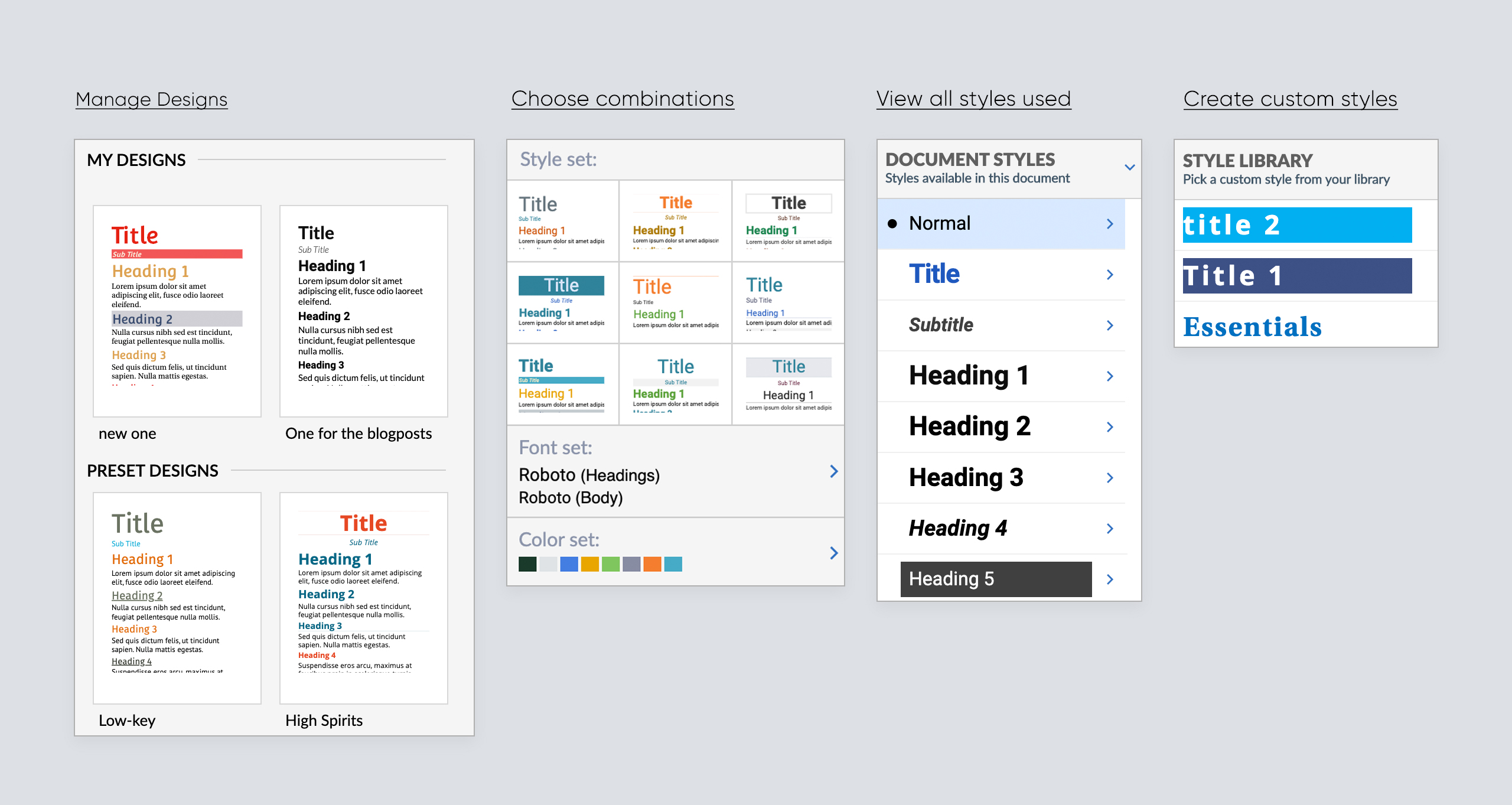 Create your masterpiece document using the Design tab