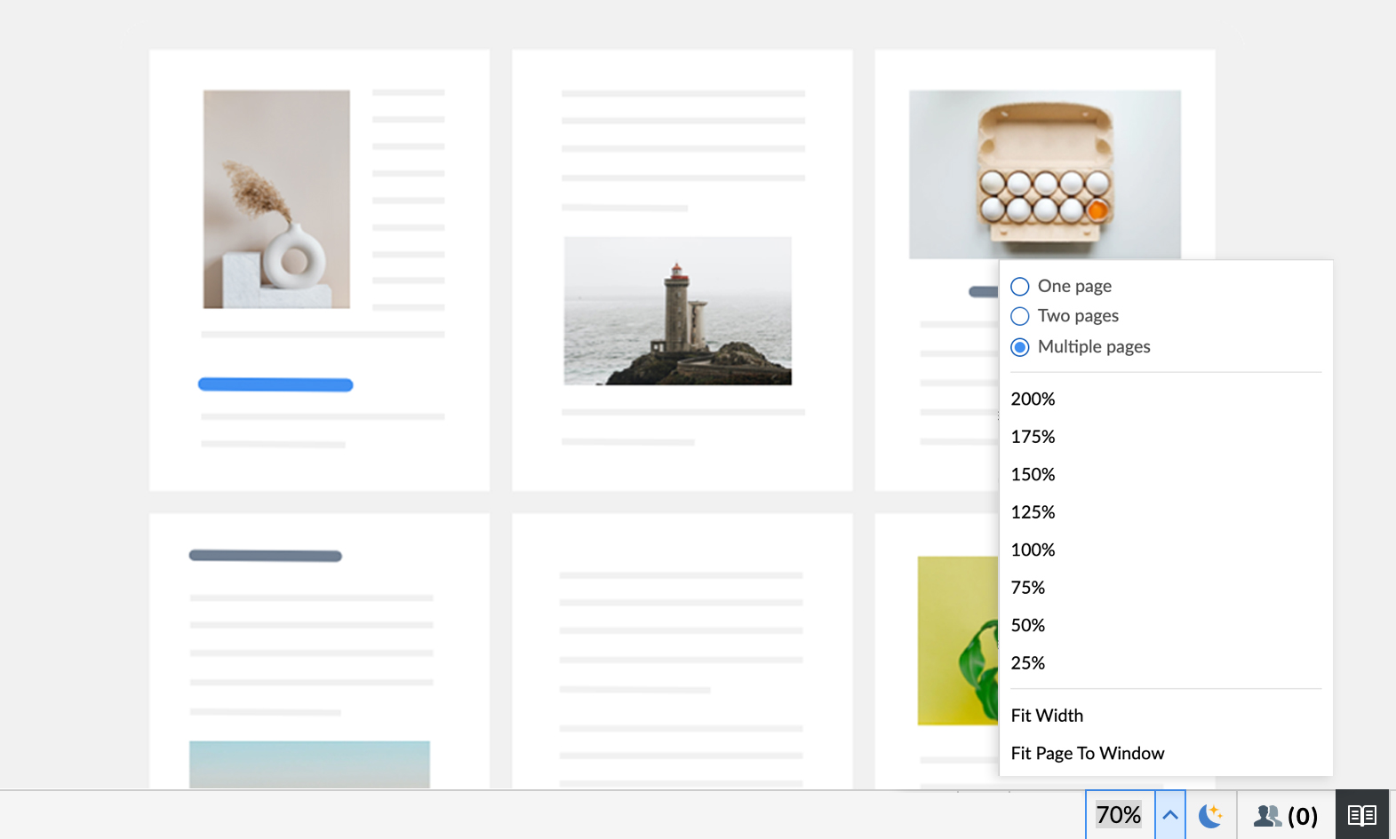 Multi-page view in Zoho Writer