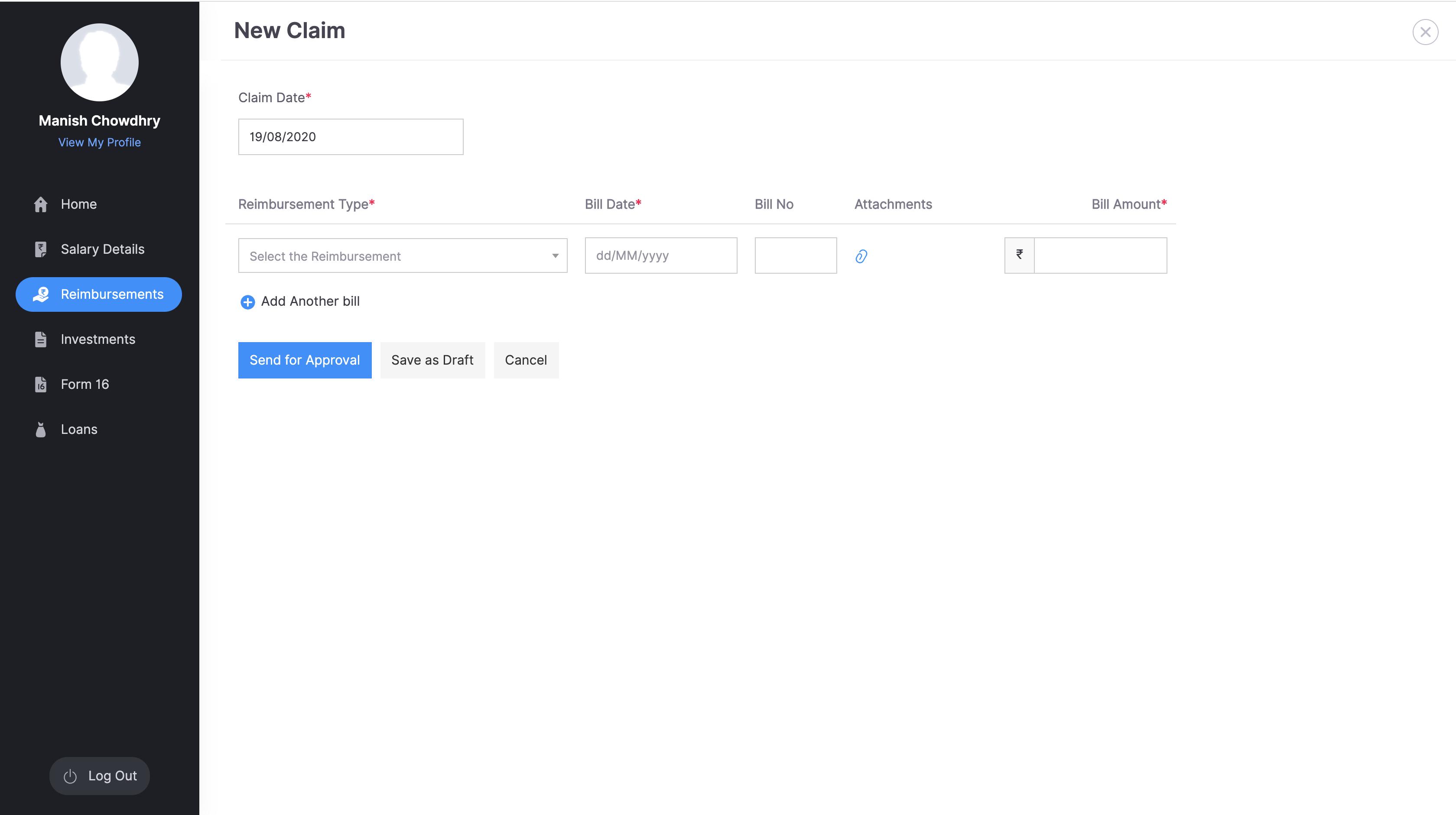 ESS Portal : Digitising reimbursements process
