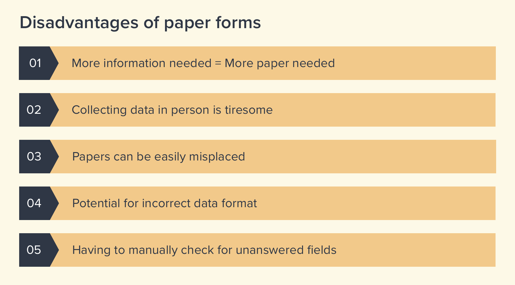 Cons of paper based forms