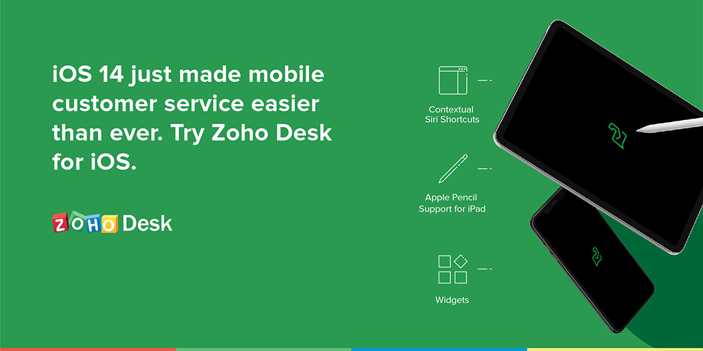 Effortless customer service on-the-go with  Zoho Desk for iOS 14