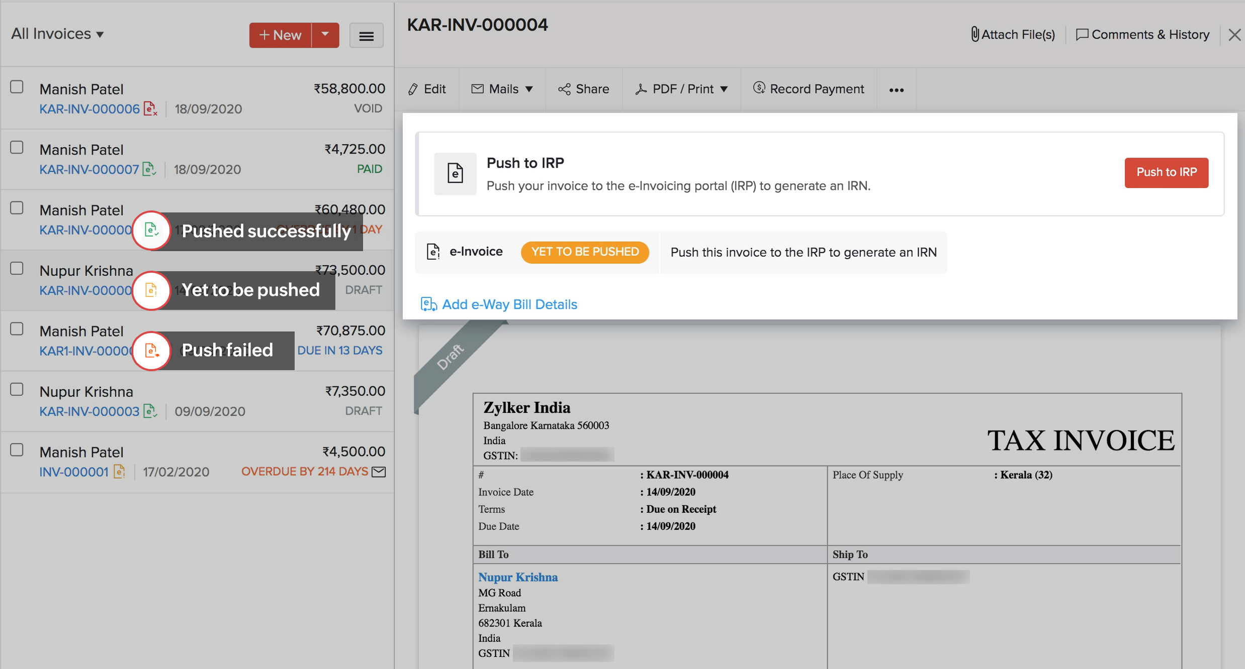 generate e-invoices with zoho