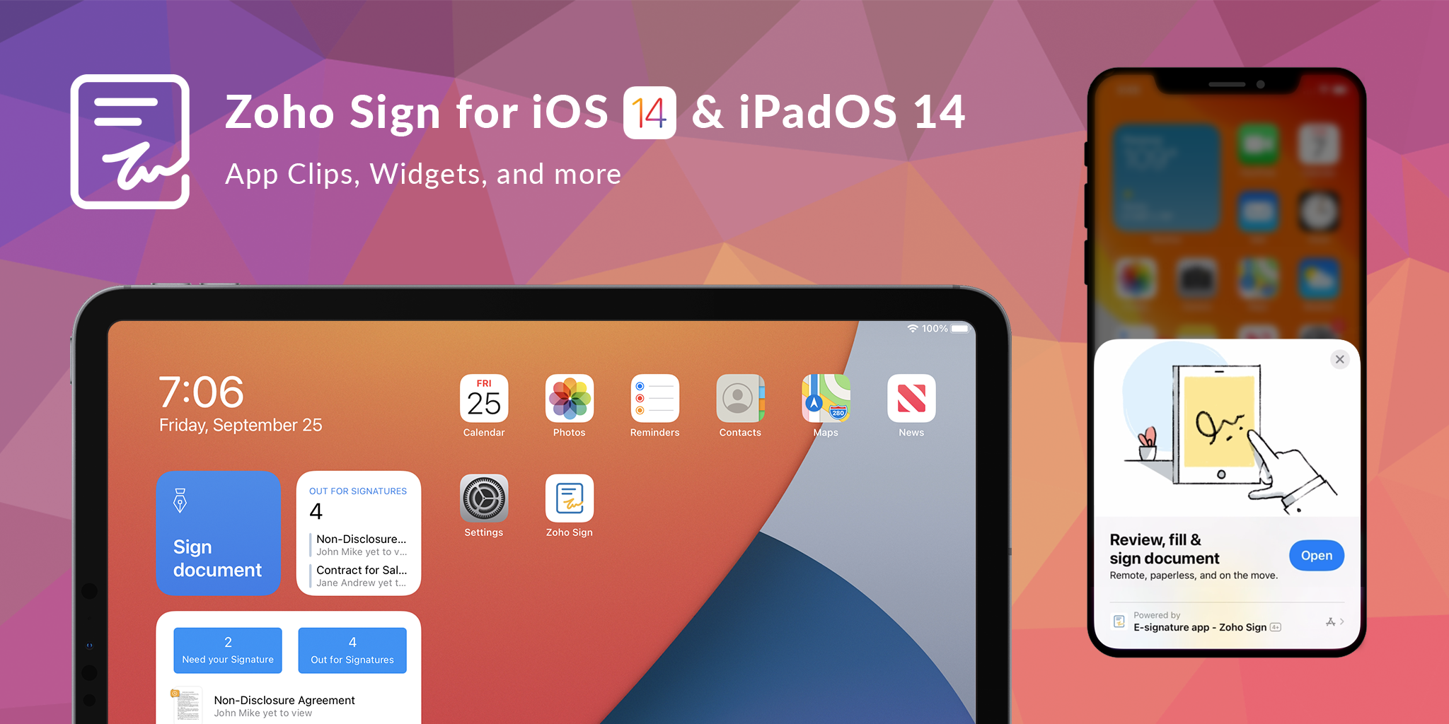 Zoho Sign for iOS 14 and iPadOS 14: App Clips, Widgets, and Scribble on the go