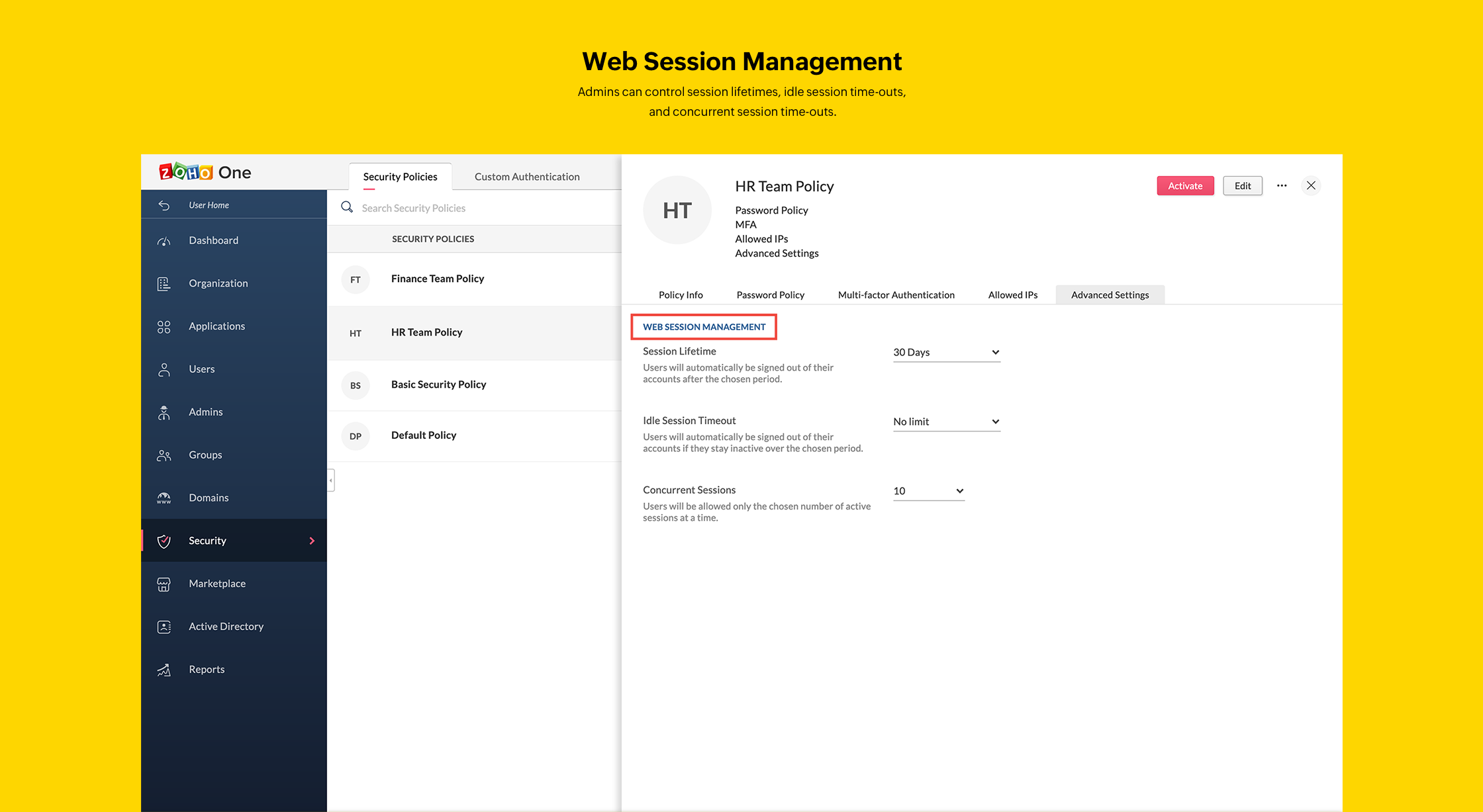 Web Session Management in Zoho One Admin Panel