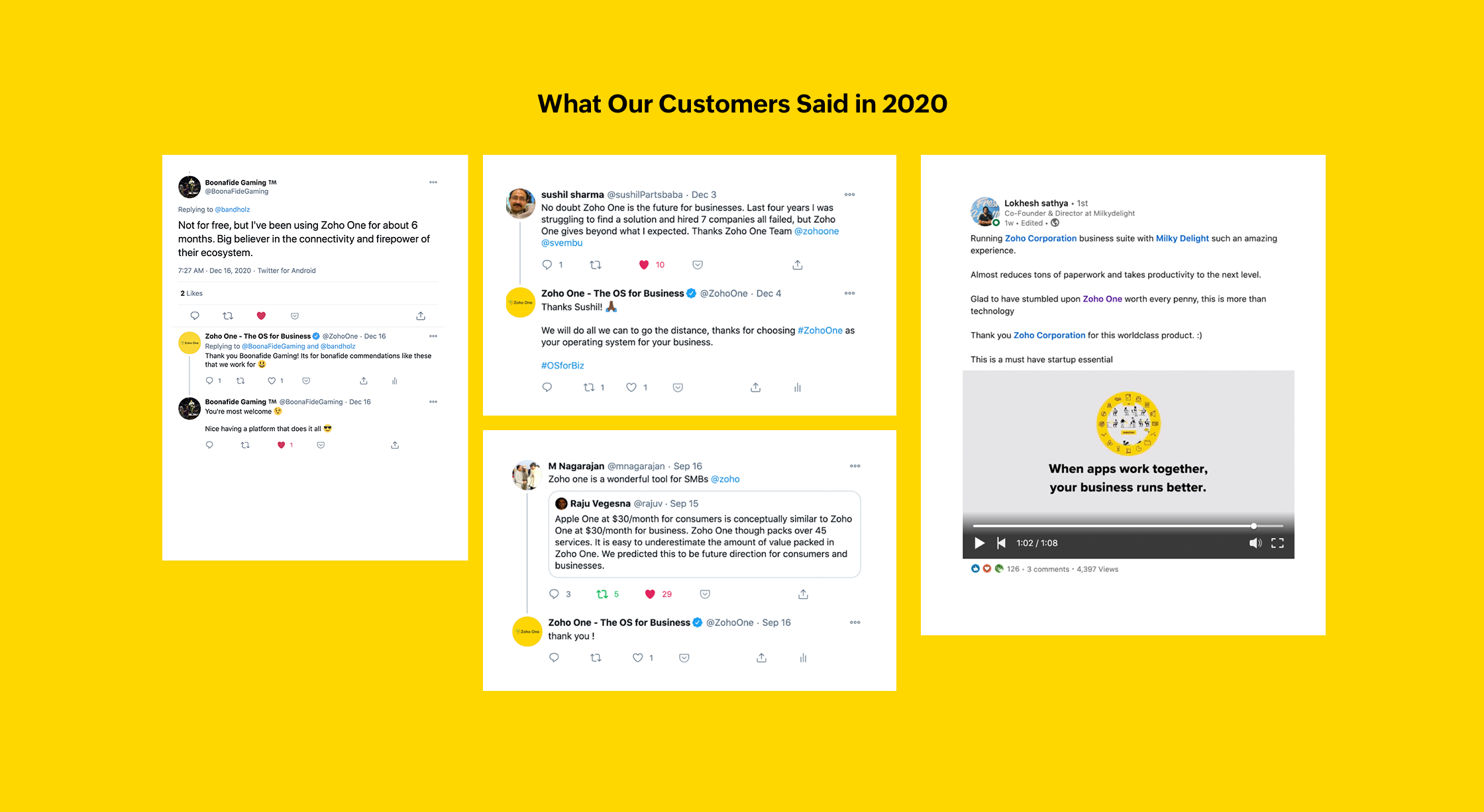 Customer Feedback of Zoho One in 2020