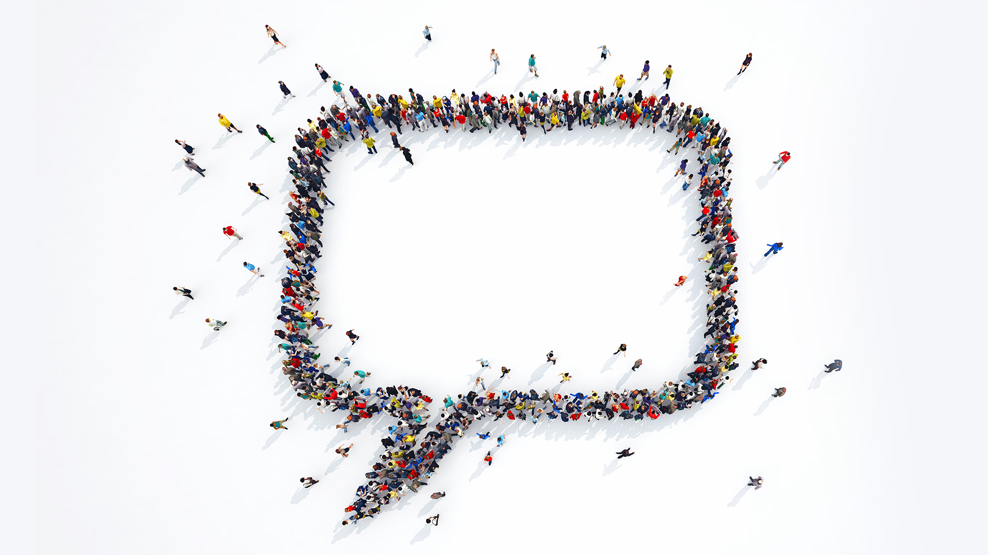 Image depicting people forming a 'message' sign.