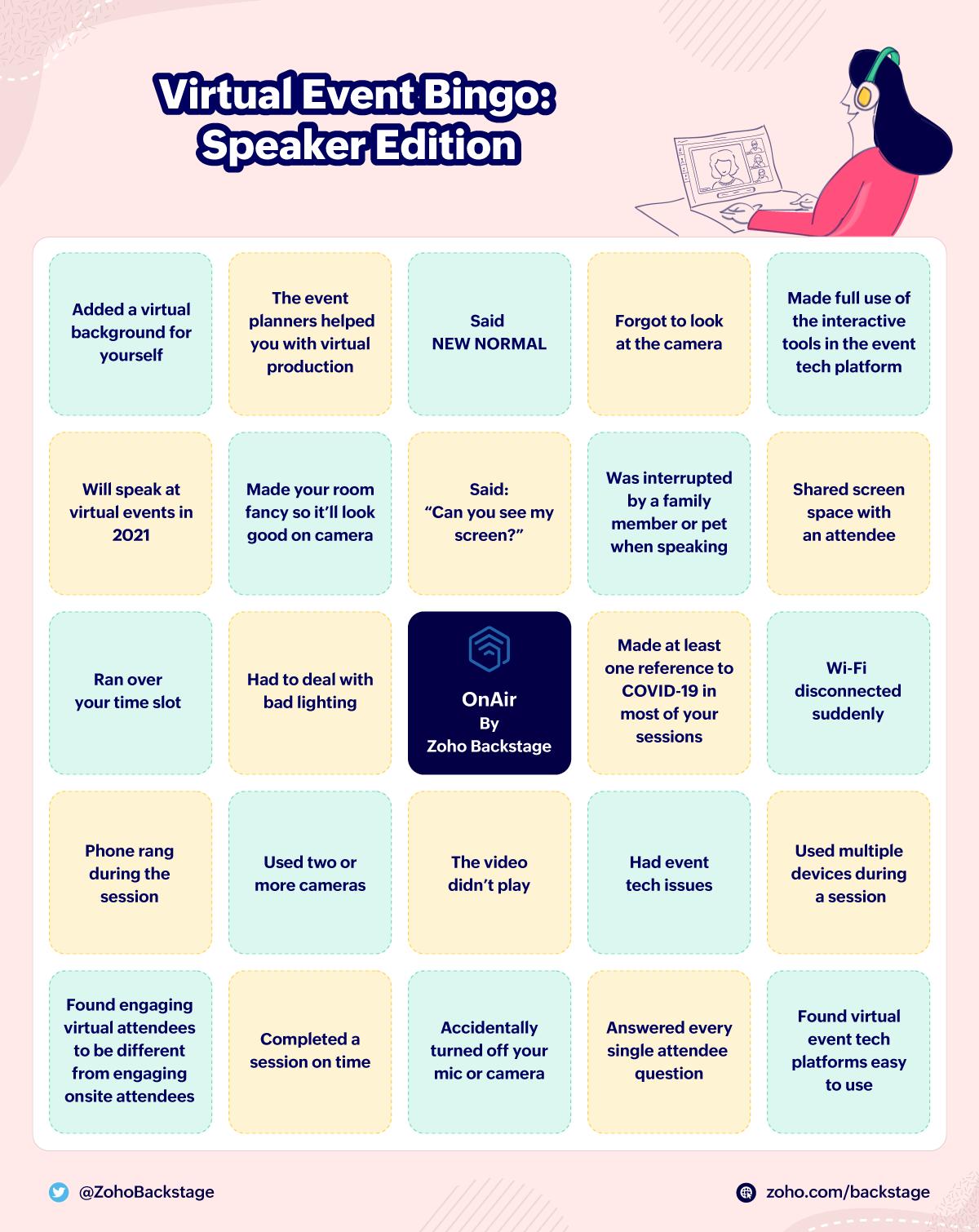 Bingo card for virtual event speakers