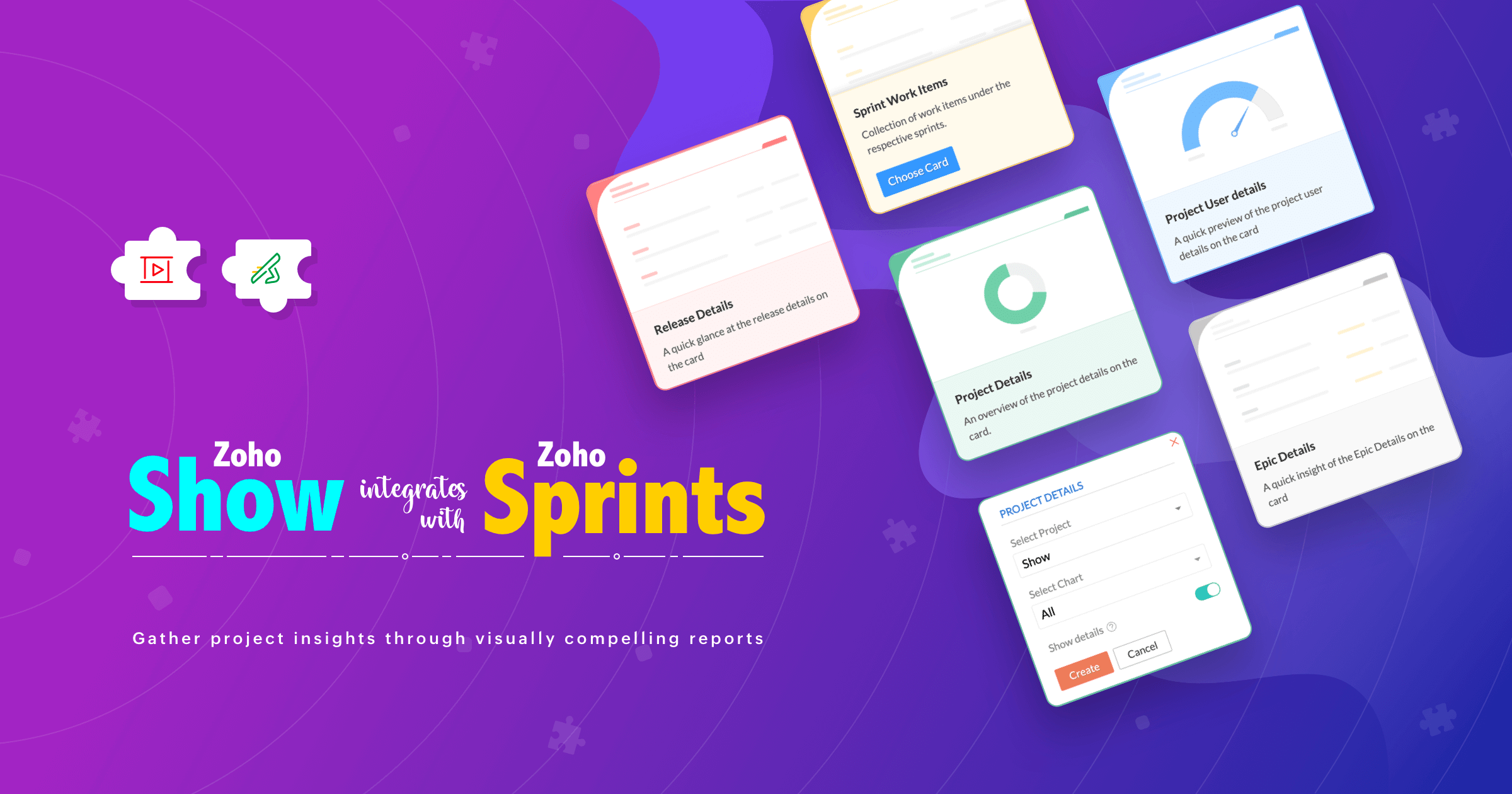 Zoho Show integrates with Zoho Sprints: Gather project insights through visually compelling reports