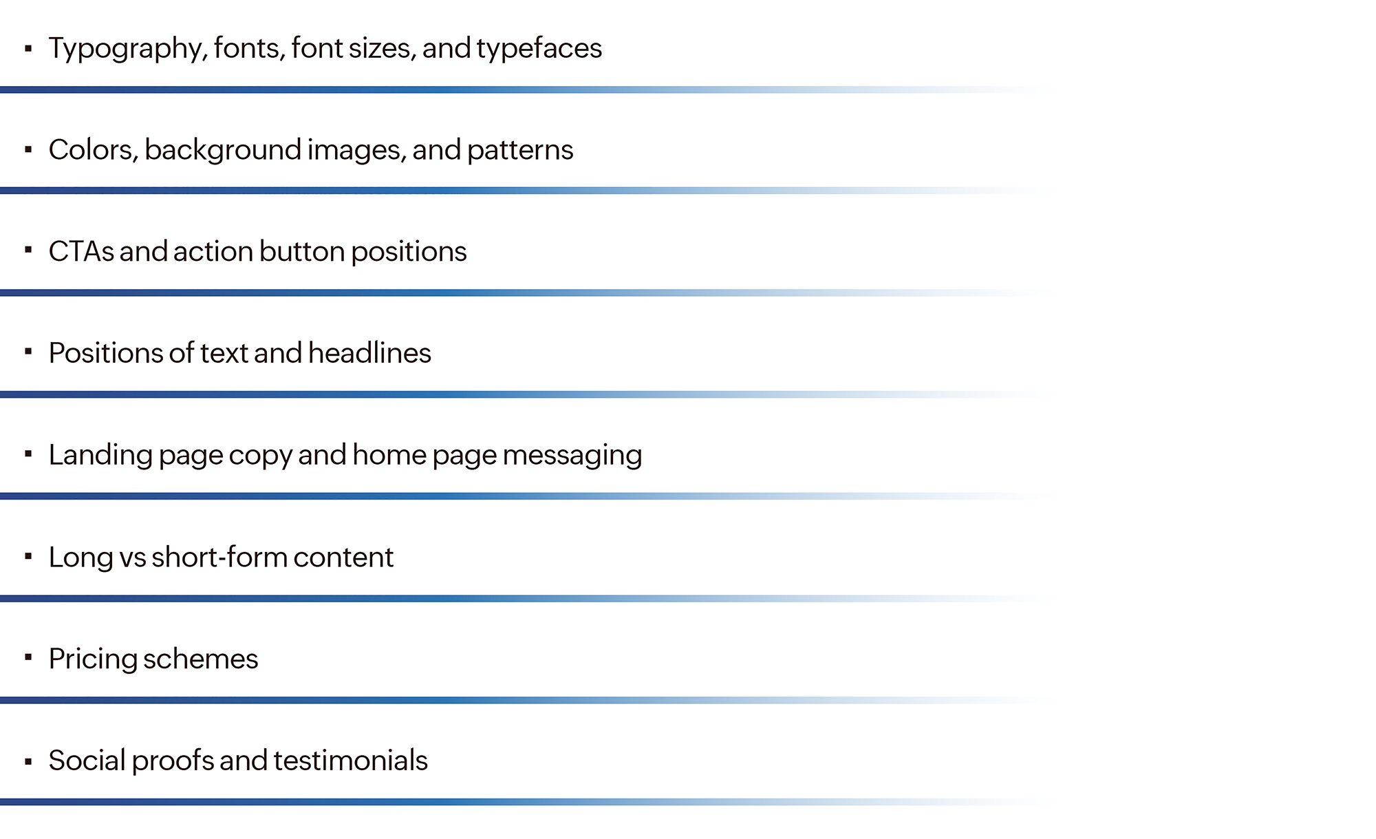 Components of a website to test while doing a data driven A/B test.