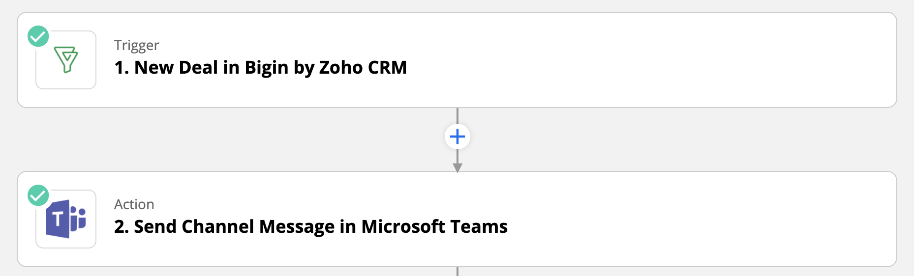 Bigin and Microsoft Teams integration through Zapier