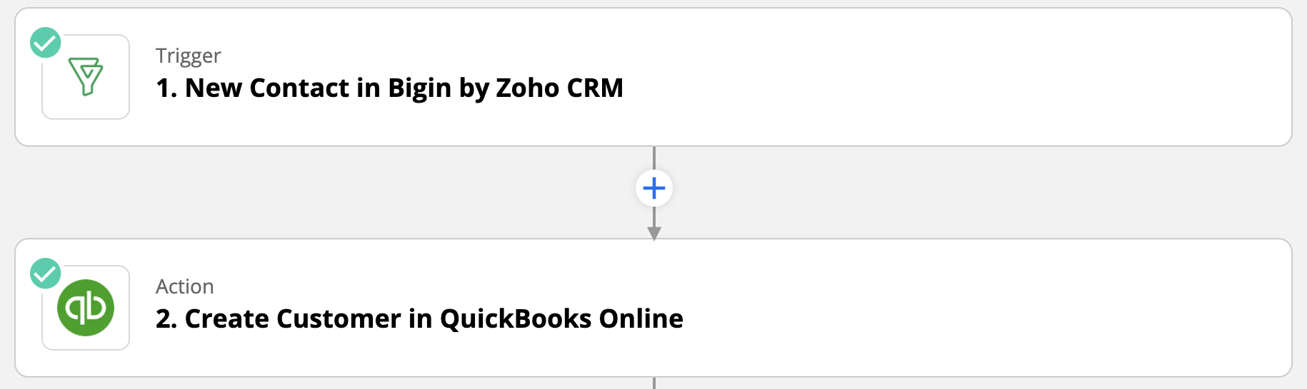 Bigin and Quickbooks integration through Zapier