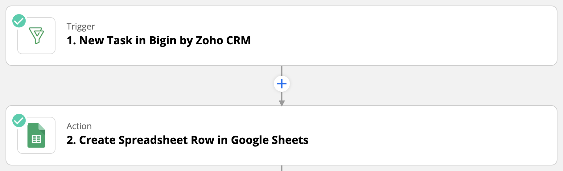 Bigin and Google Sheets integration through Zapier