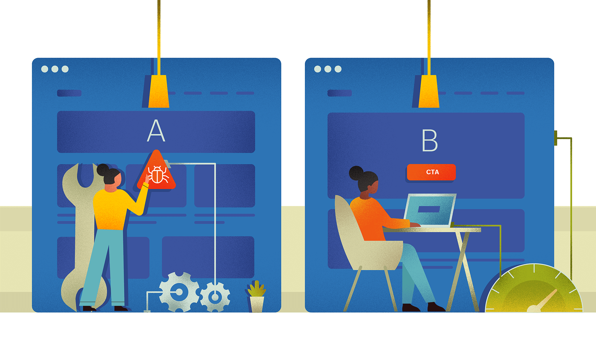 Testing and evaluating a website through A/B tseting and 5 second test before making it live.