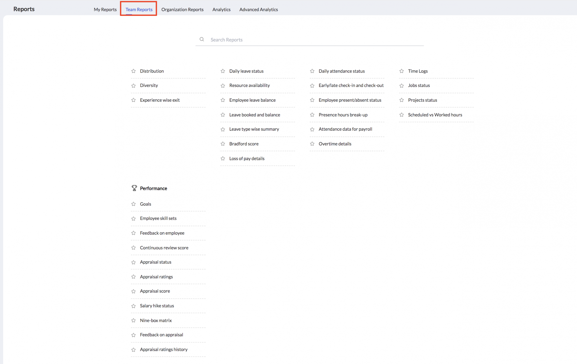 Team Reports in Zoho People