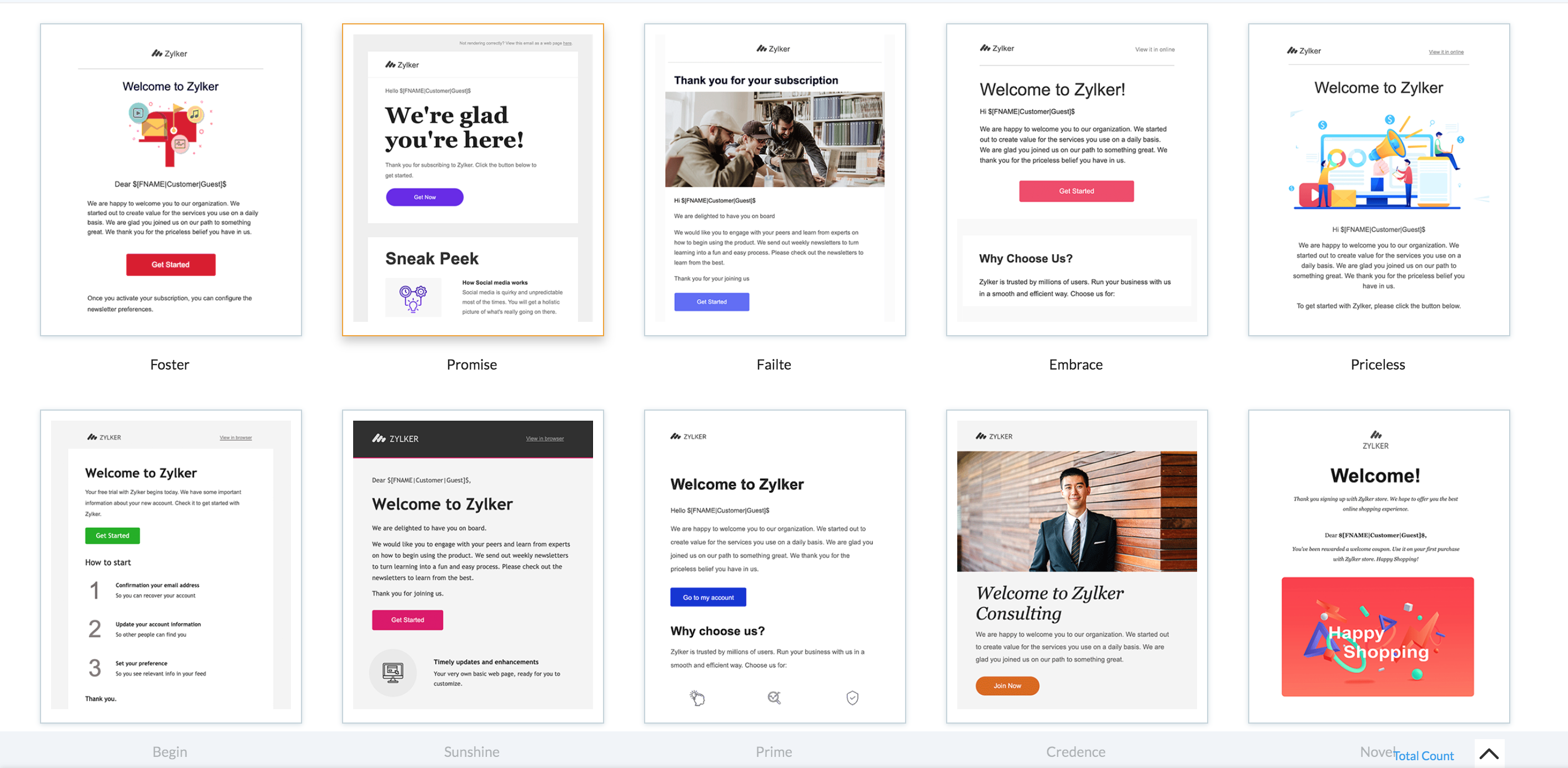 Pre-designed welcome email templates