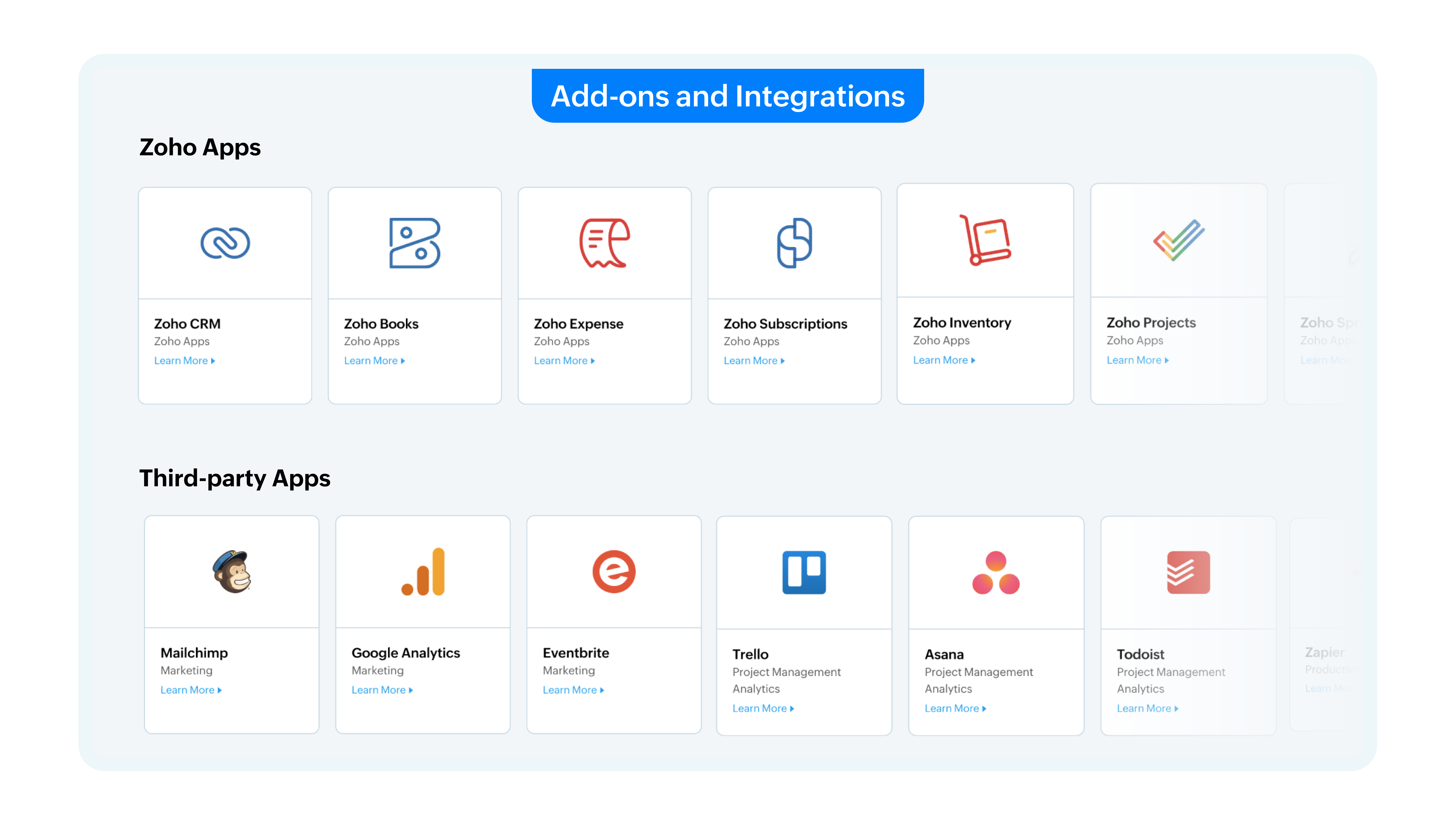Zoho Cliq add-ons and integrations.