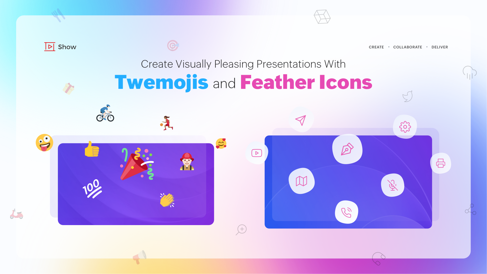 Create visually pleasing presentations with Twemojis and Feather Icons