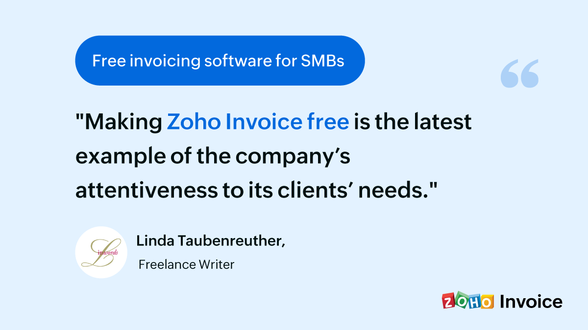 Zoho Invoice is free-Customer feedback