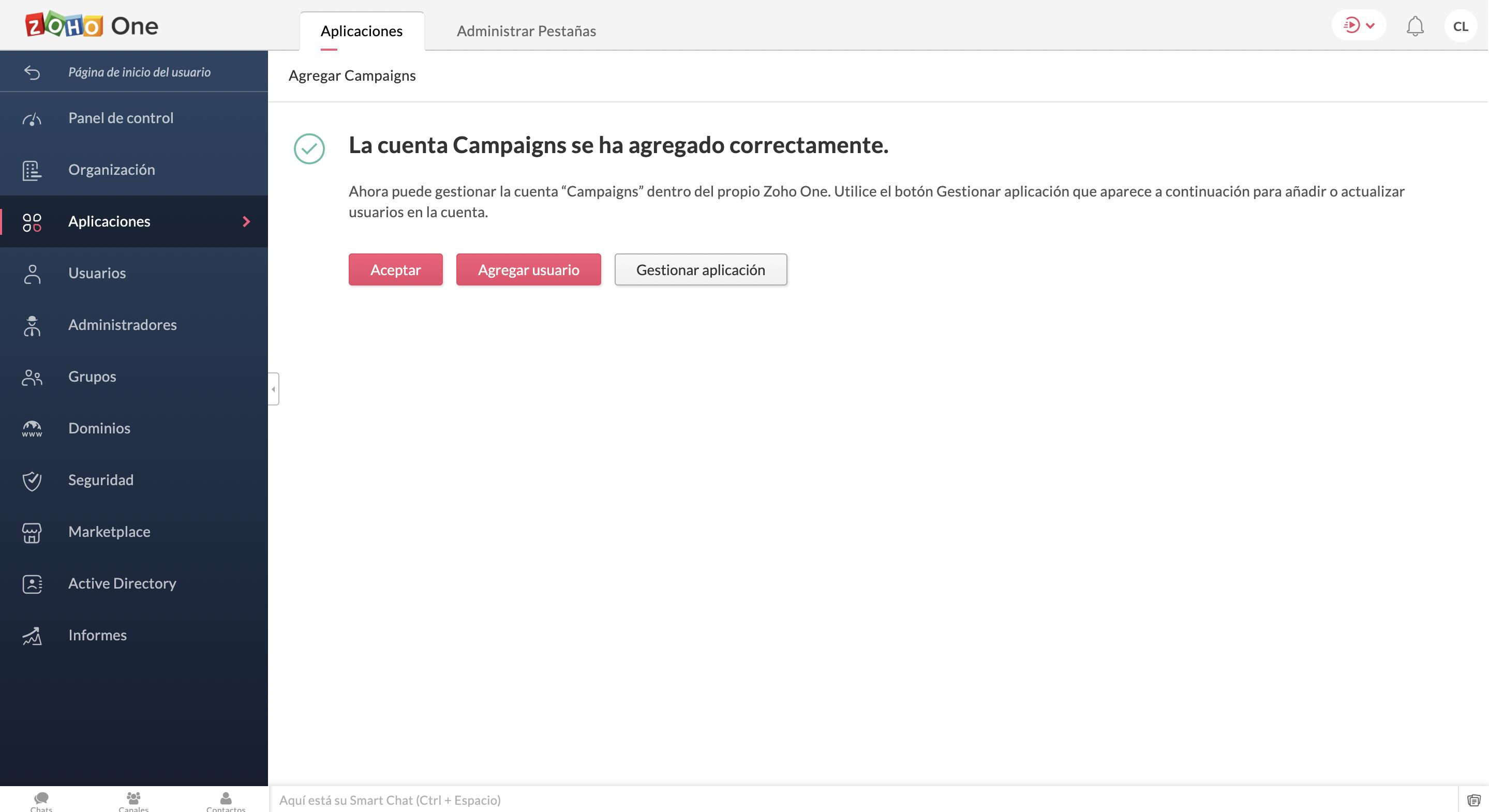 confirmación de aplicación agregada a zoho one