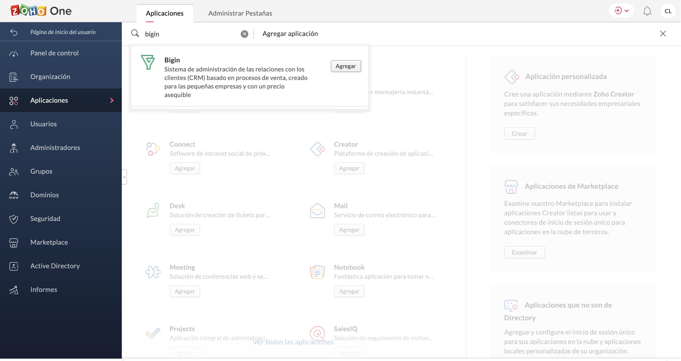añadir aplicación desde la barra de búsqueda en zoho one