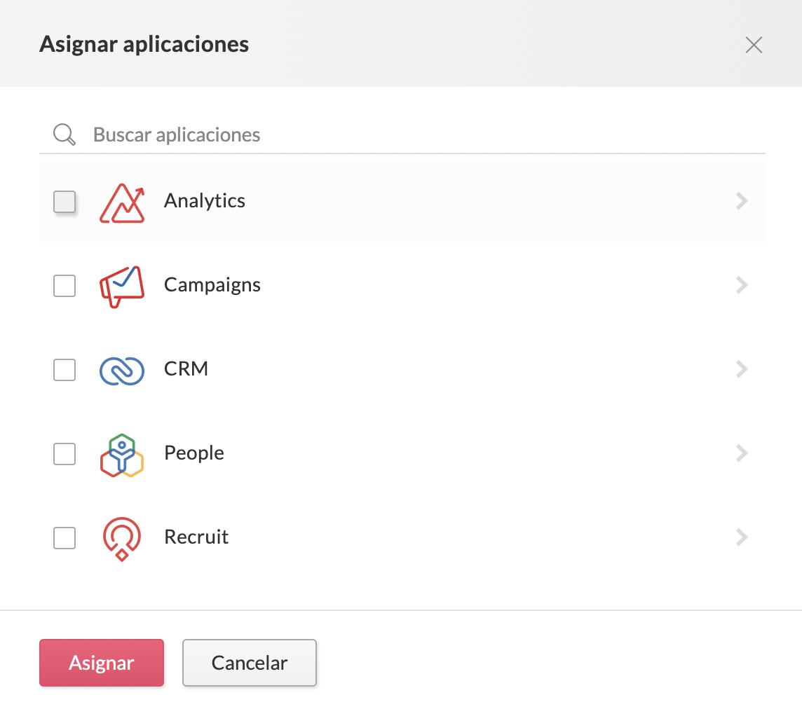 seleccionar aplicaciones para asignarlas a usuarios