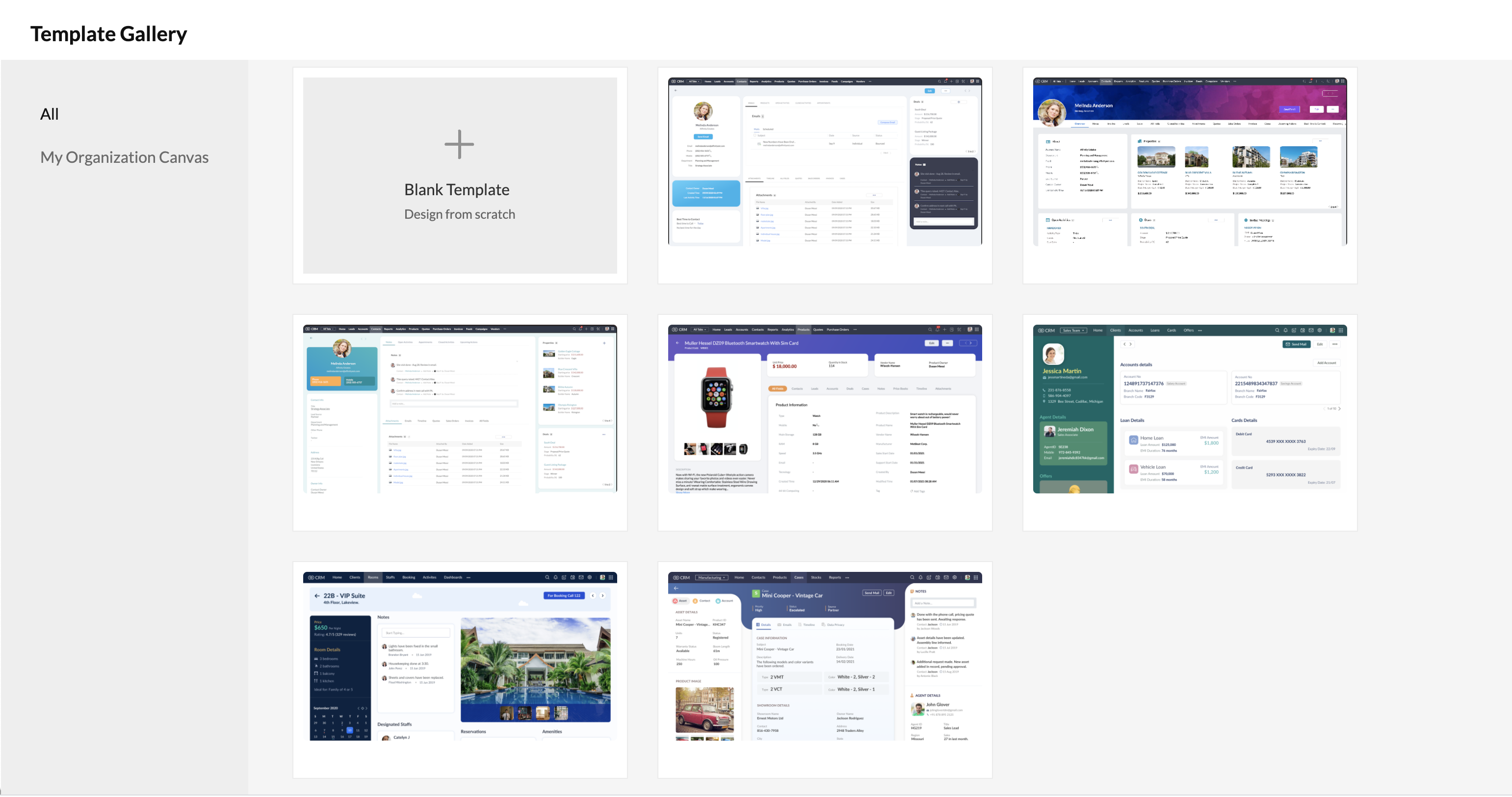 canvas for zoho crm templates