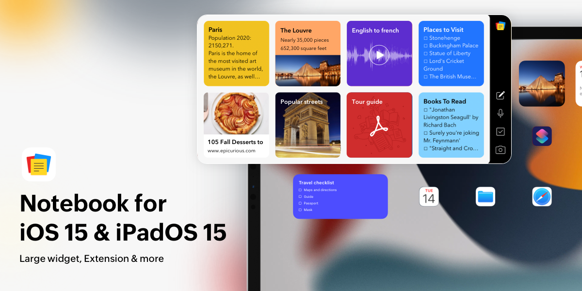 Notebook for iOS 15 and iPadOS 15: Safari extension, extra large widgets, notebook suggestions, and more.