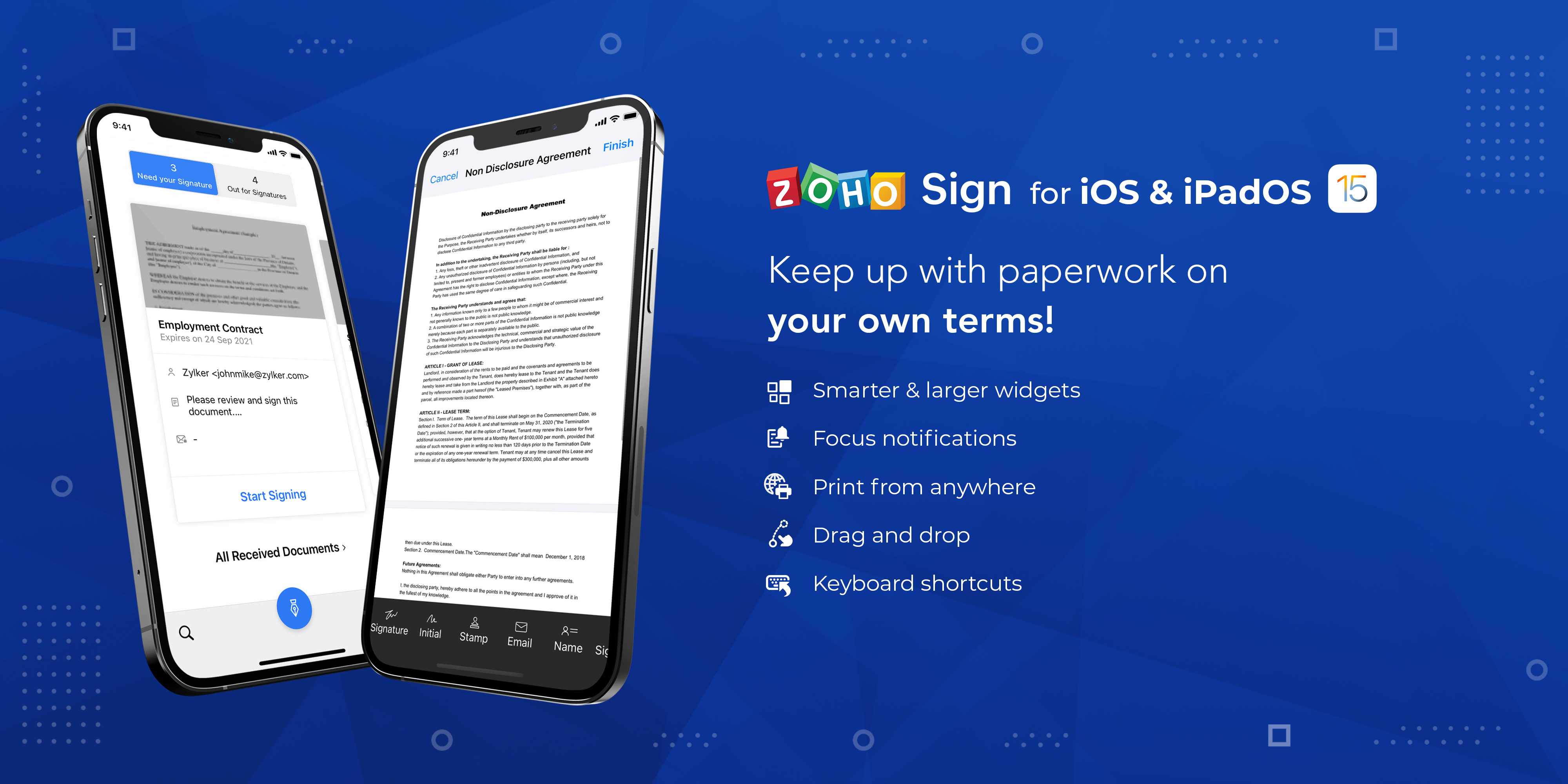 Zoho Sign for iOS 15 and iPadOS 15